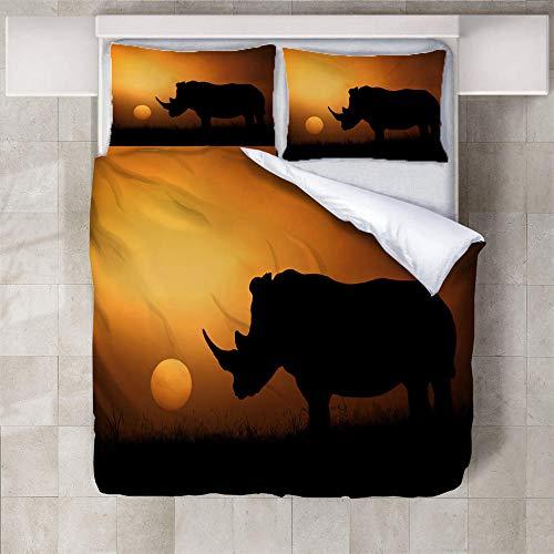 IXGMI 3D Digital Print Bedding,Rhino At Dusk,Duvet Cover Set 3pcs Bedding Set with Zipper Closure, Ultra Soft Microfiber Quilt Cover Set 260x220cm