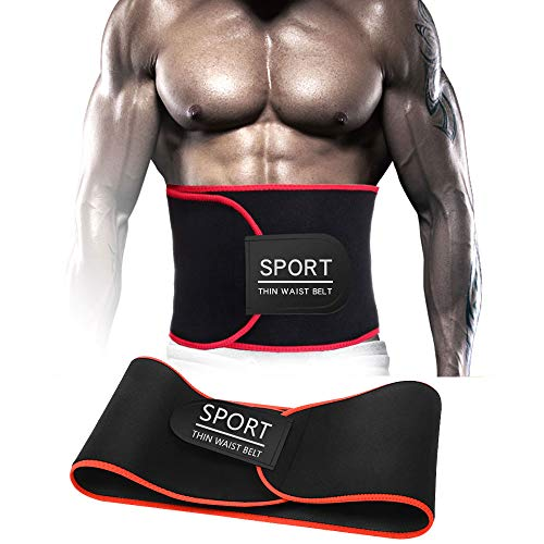 EASYHOMER Waist Trimmer Trainer Belt for Man and Women & Weight Loss Wrap & Stomach Fat Burner and Back Lumbar Support Best Abdominal Sport Girdle Belt (Red)