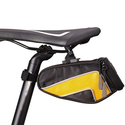 SACOCHES Sac de Selle de VéLo ÉTanche, Sac de Queue en Nylon de Bicyclette Sac de SièGe ArrièRe de VéLo de Montagne Accessoires de Sac de Selle,Yellow,L