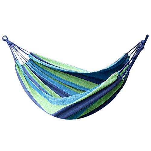 sourcingmap Hamac Suspendu Tissu toi Corde Coton Portable Aile Plein air Camping Bleu 200cm x 80cm Combo B