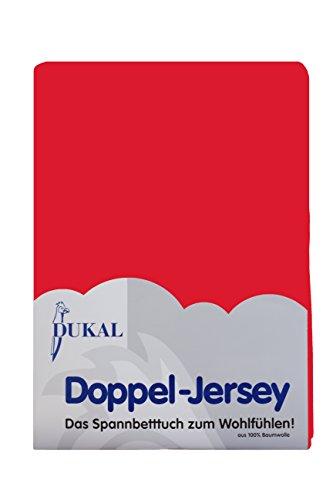 Dukal, Spannbettlaken, für runde & achteckige Matratzen! Durchmesser ca. 255-265 cm, aus hochwertigem DOPPEL-Jersey (100% Baumwolle), Farbe: rot