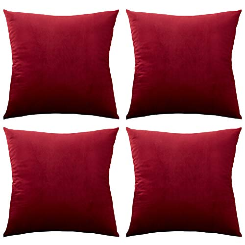 Rose Home Fashion Pack of 4 Throw Pillow Covers, Velvet Pillow Covers Decorative Square Pillowcase Cushion Cover for Sofa Couch, Burgundy Throw Pillow Covers, 18 x 18 Inch, Burgundy