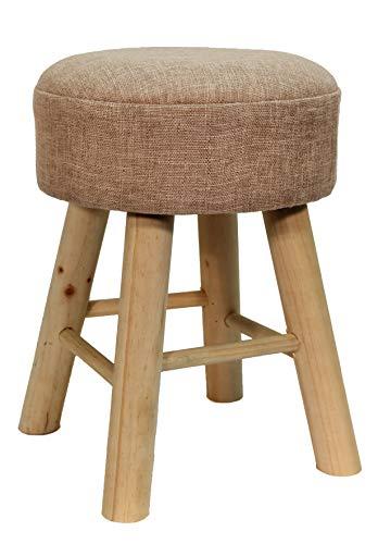 CREOFANT Hocker mit Stoffbezug · Hocker aus Holz · Fußhocker · Polsterhocker · Sitzhocker Wohnzimmer · Schminktisch Hocker · gepolsterter Hocker (Creme)
