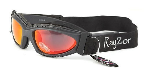 Rayzor Profesional UV400 Gun Metal Gris 2 En 1 Ciclismo - MTB Gafas de Sol/Gafas, con un antideslumbrante Claridad Lente Rojo Iridium y Desmontable con elástico Diadema y Interior Acolchado de Espuma