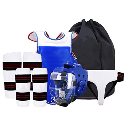 JXS-Outdoor Taekwondo Engranaje Sparring Set - Kit 6PCS con la máscara - EVA Gruesa Capa de protección Integral