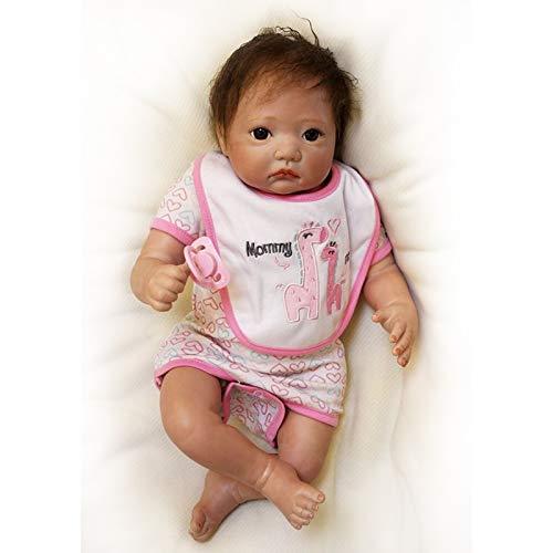 Nicery Reborn Baby Doll Renaissance Bébé Poupée Doux Simulation Silicone Vinyle 20pouces 50cm Bouche Vivant Garçon Fille Jouet Bavoir Blanc RD50C076-OTD