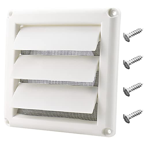 Funmit 4' Louvered Vent Cover for Exterior Wall Vent Hood Outlet Airflow Vent Dryer Air Vent (White)