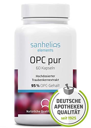 Sanhelios OPC Traubenkernextrakt in Apothekenqualität - 380 mg Premium-OPC je Kapsel - 60 Kapseln = 2 Monate - Vegan, Nur natürliche Zutaten, Ohne Zusätze - Hergestellt und geprüft in Deutschland