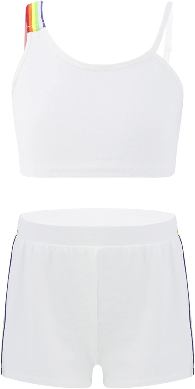 inhzoy Kids Girls 2pcs Active Crop Tank Top Shorts Clothes Set for Summer Workout Dance Wear