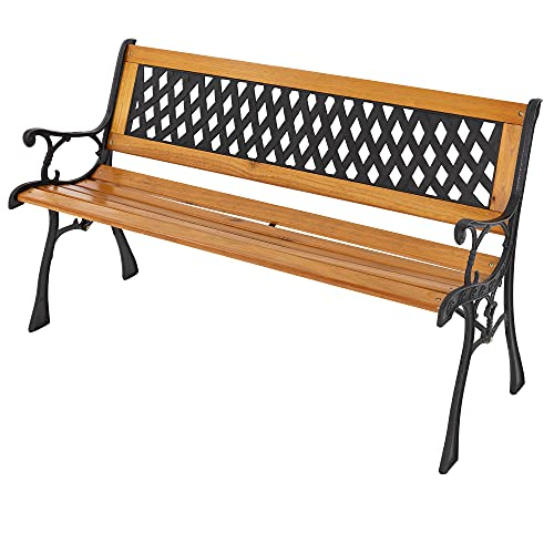 ML-Design Gartenbank Parkbank 3-Sitzer Massivholzbank mit Rücken- & Armlehnen, 126x74x50cm, wetterfeste Sitzbank, Seitenelemente aus Metall/Gusseisen, Gartenmöbel, Bank für Garten, Terrasse und Balkon