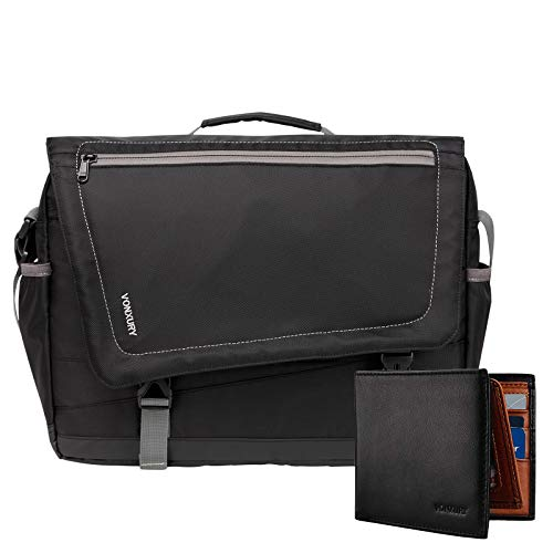 VONXURY 15.6 Inch Laptop Messenger Bag and RFID Leather Wallet Bundle Black