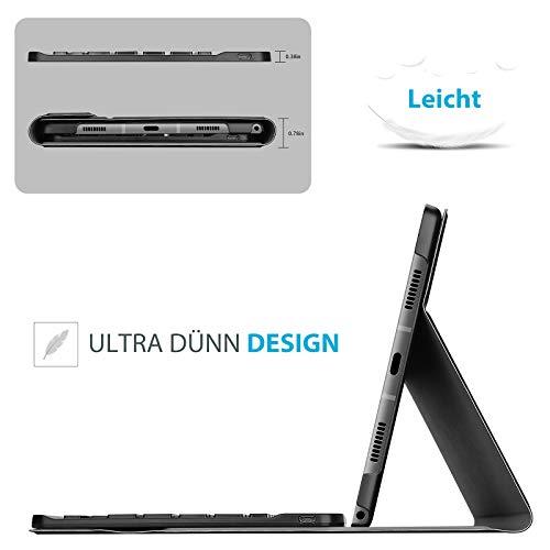 ProCase Deutsche Tastatur Hülle für Galaxy Tab A7 10.4 Zoll 2020 (SM-T500 T505 T507) Keyboard Cover, Ultradünn Schutzhülle mit Magnet Abnehmbar Kabellos Tastatur –Schwarz