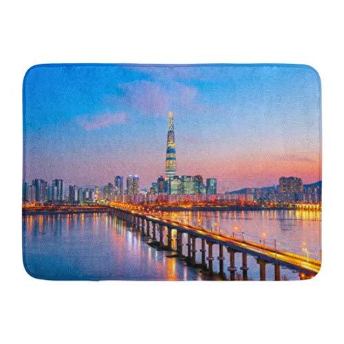 NCH UWDF Fußmatten Bad Teppiche Fußmatte Blaue Skyline Dämmerung Sonnenuntergang am Han River Seoul Korea Nachtansicht Lotte 15,8