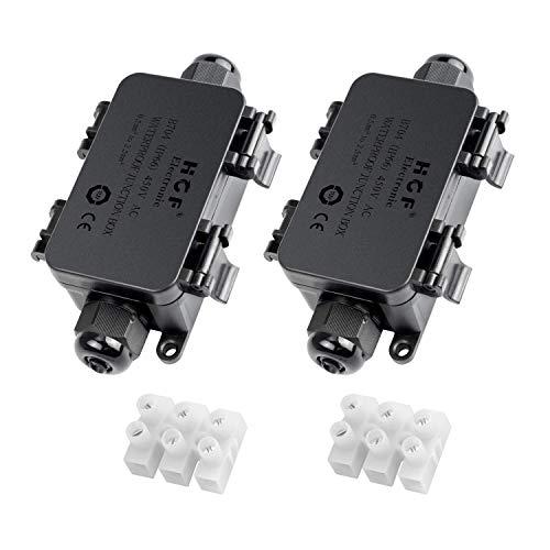 Mimoo IP66 - Caja de conexión para exteriores con 2 cables PG9 de plástico para cables de 4-8 mm de diámetro (2 unidades), color negro