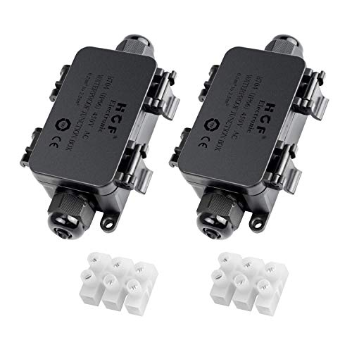 Mimoo IP66 Wasserdicht Outdoor Junction Box mit 2 Kabel PG9 Drüse Kunststoff Wire Connector Abzweigdose für 4-8 mm Durchmesser Kabel (2 Stück), schwarz