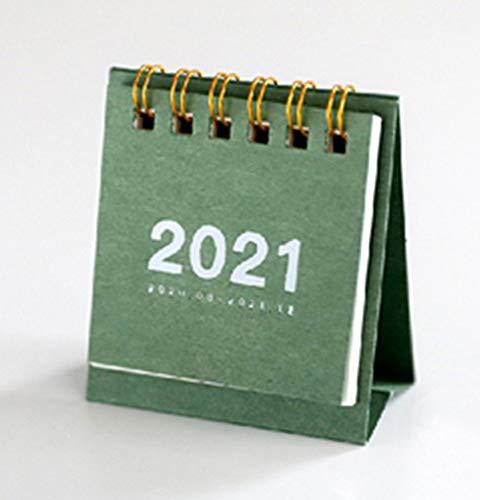LINGNING Mini Calendario de Escritorio 2021 Ornamentos de Escritorio Creativo Trabajo portátil Nota Calendario Calendario Año Nuevo Horario (Color : Bamboo Green)