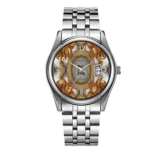Luxuriöse Herren-Armbanduhr, 30 m wasserdicht, Datumsanzeige, Sportuhren, Herren, Quarz, lässig, Weihnachten, Brot, abstraktes Muster