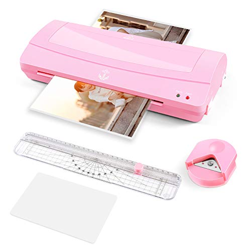 Laminator Machine for Home Use, 9 inches Wide, with Paper Trimmer, Laminating Pouches(A6,20pcs)and Corner Rounder, Pink