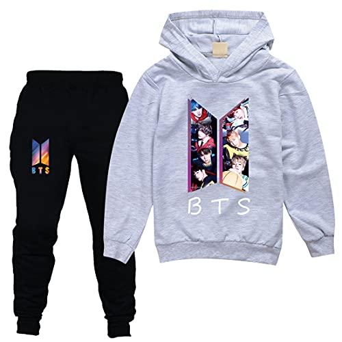 BTS Felpa e Pantaloni Set Bambini Pullover Tuta Abiti BTS Merch, Grigio, 5-6 Anni