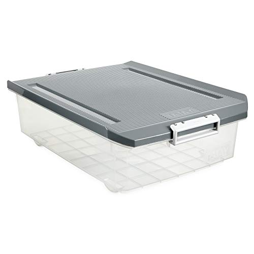 TATAY - Caja de Almacenaje Multiusos Bajo Cama con Tapa y 32 L de Capacidad. Plástico Polipropileno Libre de BPA. Forma Rectangular, Medidas 56,5 x 40 x 17,5 cm (L x An x Al). Transparente con Tapa Gris