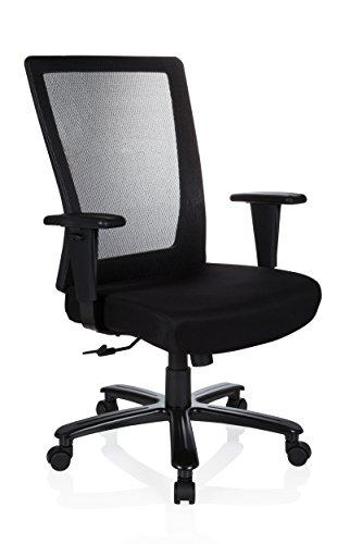 hjh OFFICE 738010 Silla de Oficina XXL Extender Malla/Tejido Negro Silla Escritorio Muy Ancha