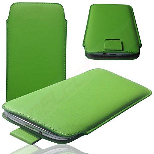 MOELECTRONIX HQ GRÜN Slim Cover Hülle Schutz Hülle Pull UP Etui Smartphone Tasche passend für ARCHOS 45 Neon