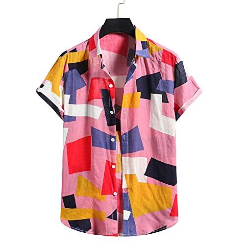 Shirt Ocio Hombre Verano Transpirable Cuello Kent Hombre Shirt Personalidad Básica Estampado De Moda Manga Corta Hombre T-Shirt Tendencia Urbana Hawaii Hombre Shirt Playa B-Pink XL