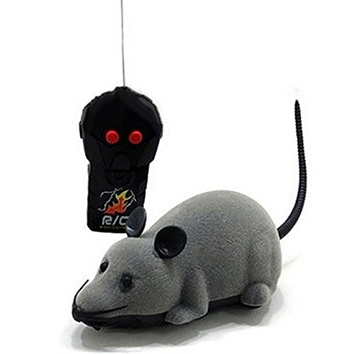 Vococal-Felpa Juguetes de Peluche Ratón / Juguete de Rata inalámbrico con Control Remoto RC para Gato,Perro,Mascotas,Niños(Gris)