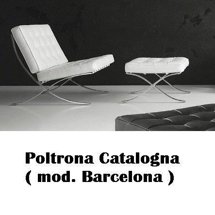 Stones Poltrona Catalogna Vera Pelle (MOD. Barcelona) con Pouf