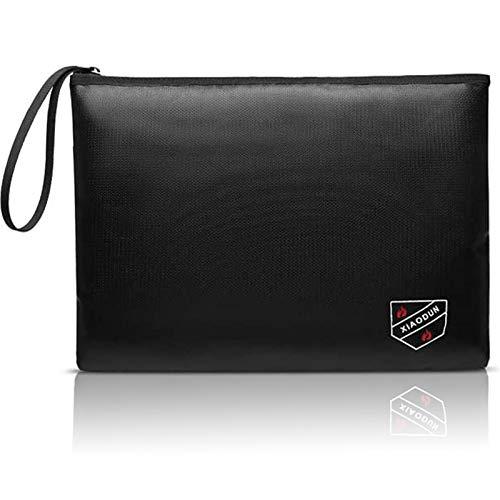 XIAODUNFireproof Money Bag,Bank Bag Fireproof and Waterproof Cash Bag with Zipper Closure, Fireproof Safe Storage Bag Envelope, Suitable for documents, Bank Inventory, Passport… (Black, L)