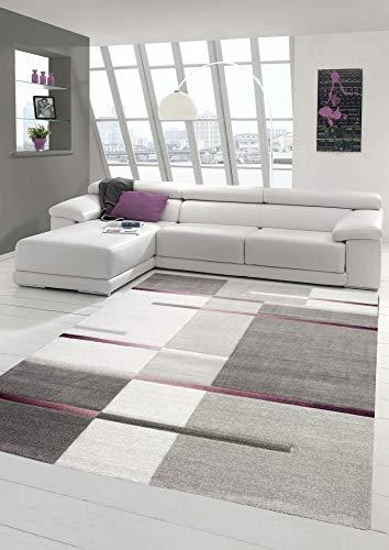 Teppich modern Wohnzimmer Teppich Kurzflor mit Karo Muster Grau Lila Creme Größe 200 x 290 cm