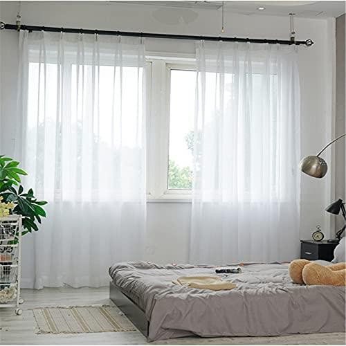 FACWAWF Hilo Blanco Simple Hilo De Lino Cruzado Sala De Estar Dormitorio Hotel Cortina Hilo Transmisión De Luz Cortina Anti-Ultravioleta Suave Y Transpirable 2x98x106in(250x270cm) WxH