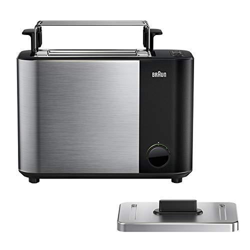 Braun Toaster HT5010 BK – IDCollection Doppelschlitz-Toaster mit Bagel-Funktion für einseitiges Toasten, 13 Röstgrade, Auftaufunktion, inkl. Brötchenaufsatz, 1000 Watt, Schwarz/Edelstahl