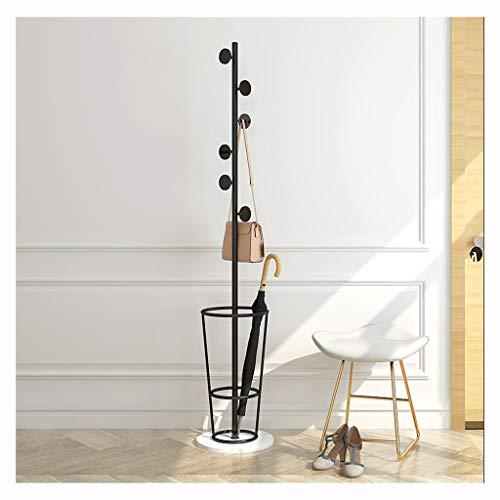 QIFFIY Perchero de pie con 6 ganchos, percha de metal con soporte para paraguas, percha de chaqueta con soporte para paraguas, perchero de madera (color: C)