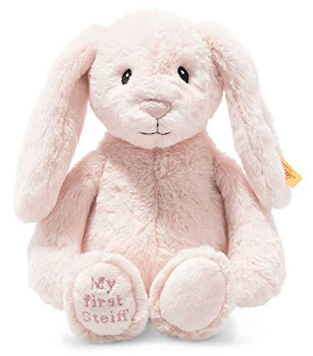 Steiff 242359 Soft Cuddly Friends My first Steiff Hoppie Hase - 26 cm - Kuscheltier für Babys - rosa (242359), rosa 150 g