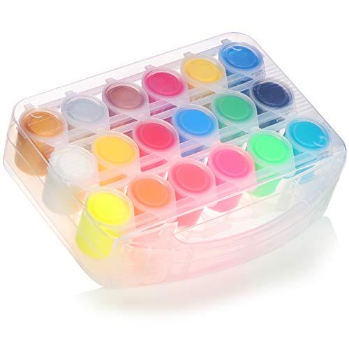 COM-FOUR® 18x Målarfärger för barn - Färgglada färgkrukor för skolan - Skolmålarfärger i praktiskt förvaringsfodral - 25 ml per kruka