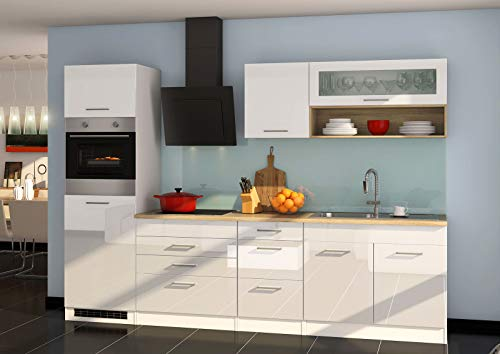 lifestyle4living - Bloque de Cocina con electrodomésticos (290 cm), Color Blanco Brillante y Roble