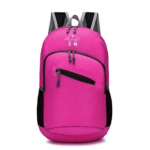 Walking sac à dos léger pliable récréatif imperméable à l'eau alpinisme Pack shopping sac de voyage sac à dos de peau pour hommes et femmes 7 couleurs H44 x W32 x T20 CM , red
