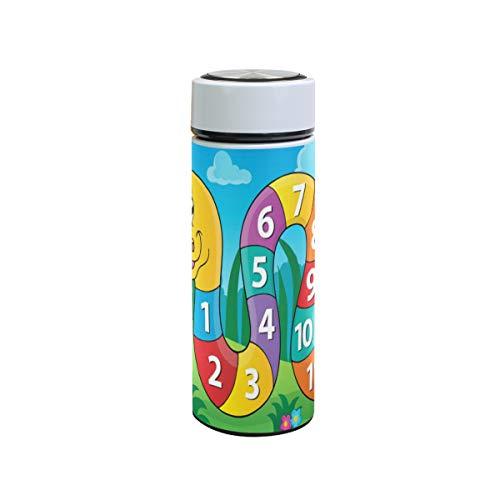 XiangHeFu roestvrijstalen reisbeker houdt koud of warm lekvrije waterfles cadeau kleurrijke slang Arabische cijfers thermoskan