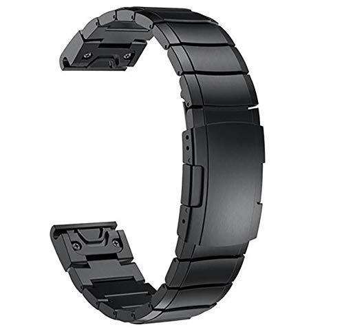 Reemplazo de la Correa de Reloj, Correas de Reloj de 20/22/26 Mm Banda de Acero Inoxidable para Garmin Forerunner Fenix 5 5X 5S Plus Vivoactive3 para Quickfit Metal Watch Band # 0000 Compatible