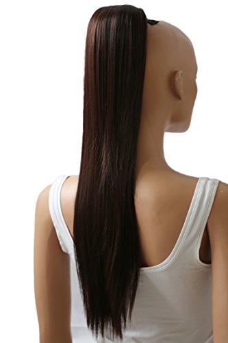 PRETTYSHOP 65cm Haarteil Zopf Pferdeschwanz Haarverlängerung Glatt Schokobraun PH604