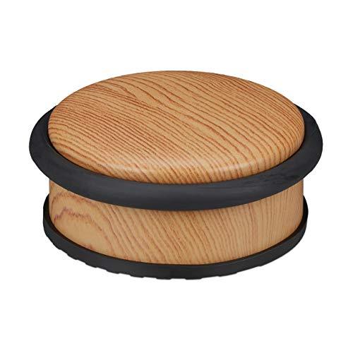 Relaxdays Türstopper Boden, für schwere Türen, Edelstahl, Gummi, flach, Holzoptik Bodenpuffer HxD 5 x 10,5 cm, hellbraun