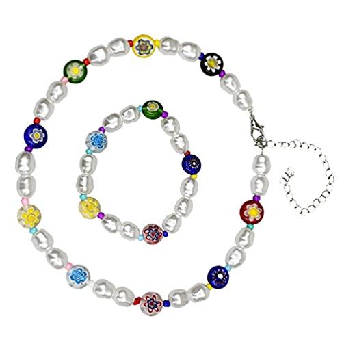 Holibanna Collar de Cuentas Conjunto de Pulsera de Flores de Margarita Collar de Cuentas Coloridas Pulsera de Playa de Verano Joyería para Mujer Niña Regalo (Colorido)