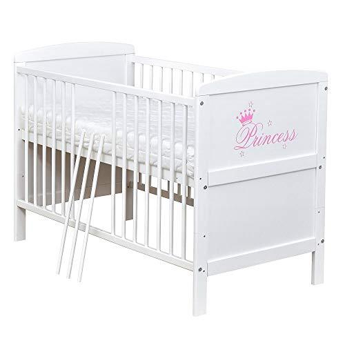 Baby Delux Babybett Kinderbett Juniorbett mit Princess 140x70 Weiß umbaubar