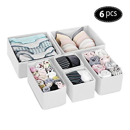 Qisiewell Unterwasche-Aufbewahrungsbox Schublade Organizer Kleiderschrankschubladen Divider fur Socken BHS Krawatten Faltbox Stoffbox Schrank 6er Set Weis