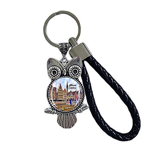 Time Traveler Go Llavero con diseño de búho de Bélgica de Gante con colgante de mochila y bolsa de regalo, recuerdo de viaje