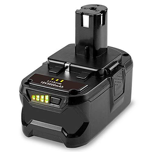 ASUNCELL 18V 5000 mAh batería para Ryobi BPL-1815 BPL-1820G BPL 1820 BPL 18151 P102 P103 P104 P105 P106 P107 P108 herramienta eléctrica con indicador de carga LED