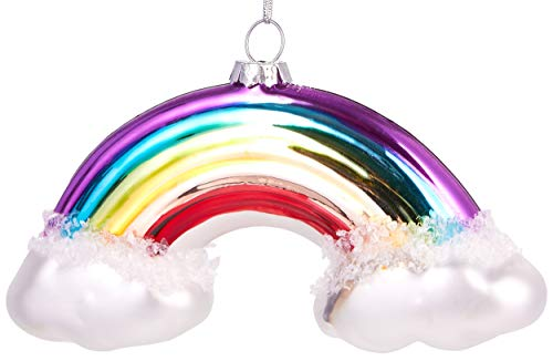 Brubaker Arcobaleno con Nuvole Colorate - Palla di Natale in Vetro Dipinto a Mano - Bocca Soffiata Decorazione Dell'Albero di Natale Figure Buffe Decorazioni Ciondolo Decorazione Albero Palla - 12 cm