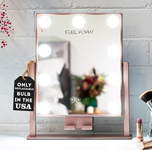 Rebel Poppy Lighted Vanity Makeup Mirror with LED Lights and Phone Mount, -