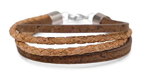 Laubsänger® Design Damen Arm Band aus Kork   natürliches Armband in Braun/Natur   Trend Mode Accessoir bunt modern stilvoll mit Geschenkbox für Frauen